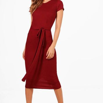 Eva Pleat Front Belted Tailored Midi Dress | Boohoo