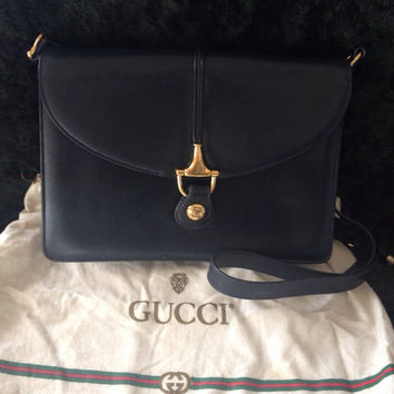 12345d45872 80s Vintage Gucci navy leather clutch shoulder bag with GG horse