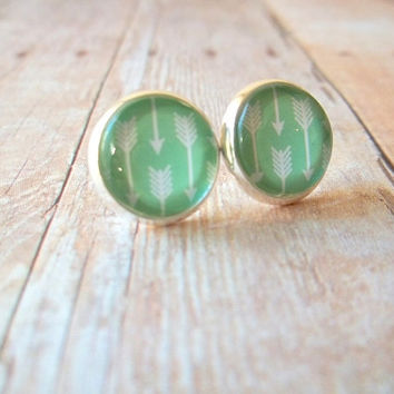 M I N T - Mint Green and White Arrow Geo Photo Glass Cab Circle Silver Plated Post Earrings