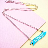 Introvert Banner Necklace In Candy Blue