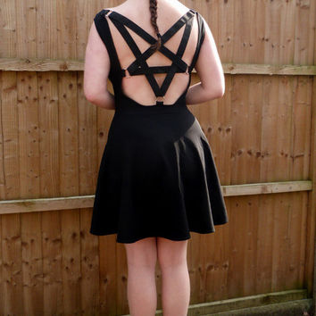 Temptation - backless skater dress, pentagram harness design, boat-neck