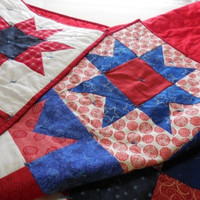 "Lap Quilt Handmade 54"" x 68"", Patriotic colors, Red White and Blue, Stars"