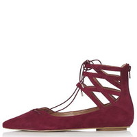 KATHY Ghillie Pointed Shoes - Red