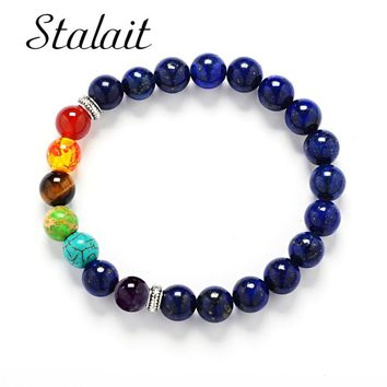 8mm Muti-color Mens Bracelets Black Lava 7 Chakra Healing Balance Beads Bracelet For Women Reiki Prayer Yoga Bracelet Stones