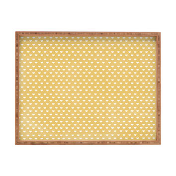 Allyson Johnson Dainty Yellow Hearts Rectangular Tray
