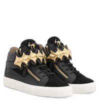 Giuseppe Zanotti Gz Kane Black Suede Mid-top Sneaker With Gold Accessories