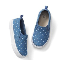 Dotty chambray slip-on sneakers | Gap