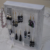 Jewelry stand, jewelry organiser, jewelry display,  shabby chic, black, white, HANDMADE , necklace holder, earring display