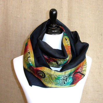 Navy Blue Infinity Scarf: Indian Sari Scarf, Bohemian Tie Dye Zari Border Eternity Scarf, Boho Chunky Circle Scarf, India