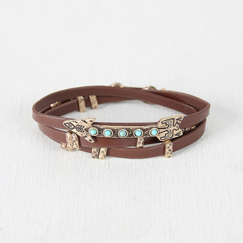 Vegan Leather Wrap Arrow Bracelet