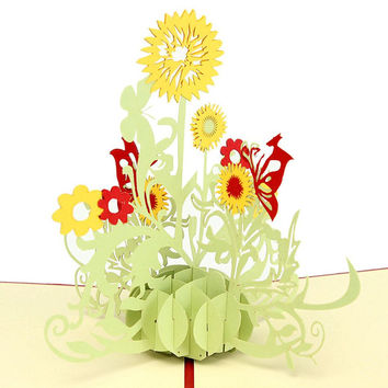 Vintage Sunflower Creative love 3D Pop UP laser cut Paper kraft postcards Greeting & Gift Birthday Cards thank you cards DIY