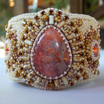 Bead Embroidery Bracelet Cuff Autumn colors Seed beads jewelry Sea Sediment Jasper Swarovski Cream Chilli pepper Peach