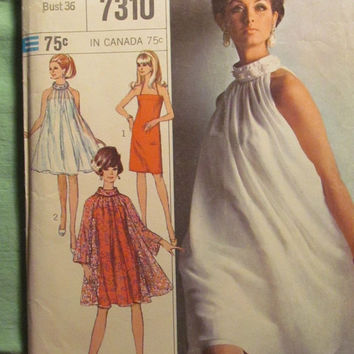 SALE Uncut 1960's Simplicity Sewing Pattern, 7310! Size 16/Bust 36/Women's/Misses/Designer Fashion/Slip-Dress/Halter Dress/Tent Over Dress