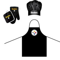 Pittsburgh Steelers NFL Barbeque Apron, Chef's Hat and Pot Holder Deluxe Set