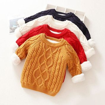 Boys girls baby clothes velvet knitted Cardigan sweater coat for newborns baby clothing winter solid pullover outerwear sweaters