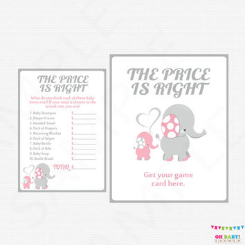 Pink and Gray Elephant Baby Shower Games, Printable Baby Shower Girl, Price is Right Baby Shower Game AND Sign, INSTANT DOWNLOAD EL0005-lp