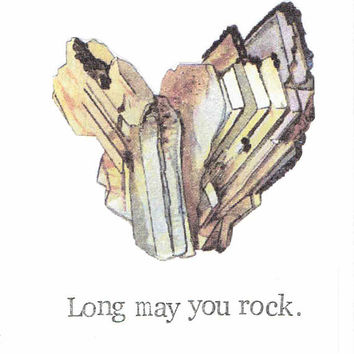 Long May You Rock Birthday Card | Vintage Geology Gemstone Minerals Crystal Gold Funny Science Humor Pun