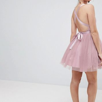 ASOS PETITE PREMIUM Tulle Mini Prom Dress With Ribbon Ties at asos.com