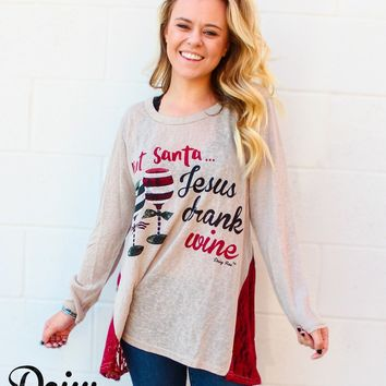 Jesus Drank Wine Christmas Tunic with Red Lace Side Accents