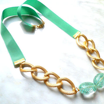 Chunky Chain and Ribbon Statement Necklace, Green and golden necklace, Mixed material Edgysheeq Accessory