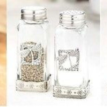 Shaker Set Salt Pepper Glass Decorative Large Rooster Cross Dragonfly Decor NEW