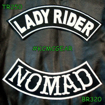 Lady Rider Nomad Embroidered Patches Sew on Patches Motorcycle Biker Patch Set for Jackets