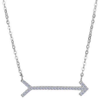 Sterling Silver With Cz Straight Sideways Arrow Fashion Necklace - 18 Inch