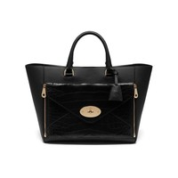 Willow Tote in Black Silky Classic Calf With Deep Embossed Croc | Family | Mulberry