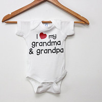 I Love Grandma and Grandpa Baby Bodysuit, Cute Baby Clothes, funny baby tee, Newborn gift, cute baby, bodysuit, by BabyApparels.etsy.com