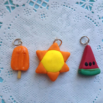 Set of 3 summer themed polymer clay charms: Fun in the Sun