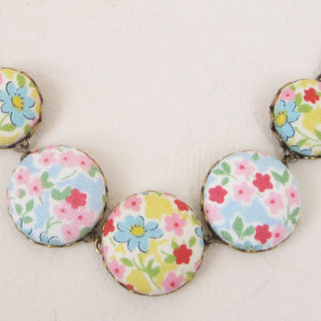 Spring Flowers Necklace, Fabric Button Jewellery, Vintage Style, Antiqued Brass, Floral.