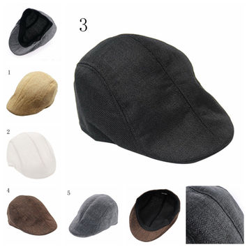 New arrival 1PCS Mens Vintage Herringbone Flat Cap Peaked Riding Hat Beret Country Golf Hats