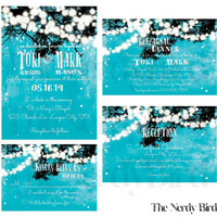 Tree Branch and Dangling Lights on Turquoise Background Printable Wedding, Reception and Rehearsal Dinner Invitation and Matching RSVP Card