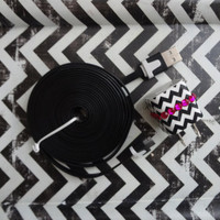 New Super Cute Jeweled Black & White Chevron Design Wall iphone 4/4s Charger + 10ft Flat Black Tangle Free Cable Cord Super Long Cord