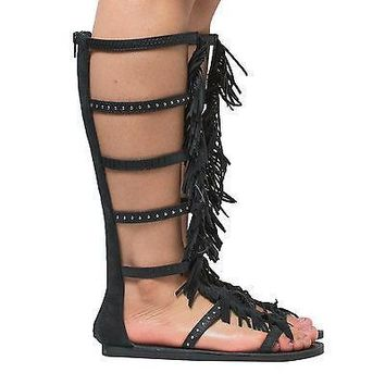 Pass By Soda, Gladiator Mid Calf Studded Fringe Open Toe Zip Up Flat Sandals