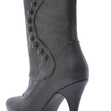 Costume Shoes: Boots Ruth Victorian - Black | Size: 10