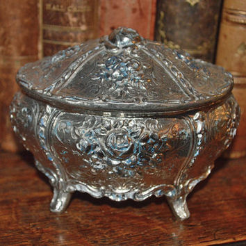 Vintage French Ornate Silver Finish Footed Jewelry Box Rose Design Rings Trinkets