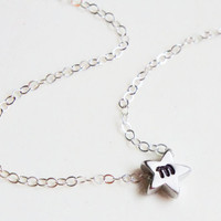 Personalized Tiny Falling Star Initial Necklace