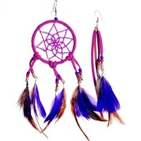 Zlyc Handmade Dreamcatcher Asymmetric Earrings - Tribal/hippies/bohemian Earrings (Red)