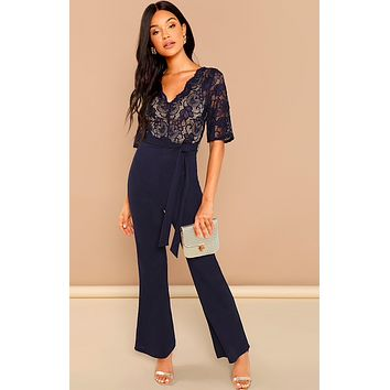 NAVY NIGHTS LACE LOVE JUMPSUIT