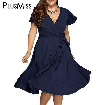 Plus Size 9XL 8XL 7XL 6XL Women Clothes  Sexy V Neck Dress