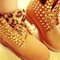 Tan Studded Timberlands