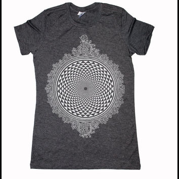 Women's Mirror Mirror Mandala Burnout Tee Shirt Psychedelic Sacred Geometry Screen Print
