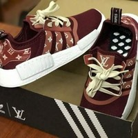 Bailianyi :  Adidas NMD x LV Louis Vuitton Burgundy Women Fashion Trending Running Sports