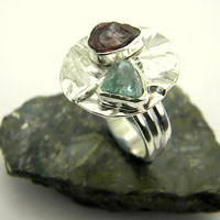 Modern rough stone ring, sterling silver, lost wax cast, tourmaline, natural blue zirconia, Big Statement Ring, tribal