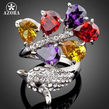 AZORA The Dolphin White Gold Color 6PCS Big Multicolor Stellux Austrian Crystal Water Drop Ring TR0073