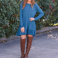 Ruffle Along The Bottom Dress - Teal
