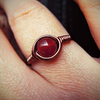 Red Carnelian Energy Boosting Ring, Wiccan Protection Talisman, Blood Red Gothic, Solar-plexus Grounding Crystal, Strengthen Self Esteem,