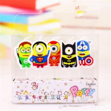 5pc Cool Superman Minions Avengers Birthday Candles Party Decoration Ideas Superhero Themed Personalised Cake Candles Toppers