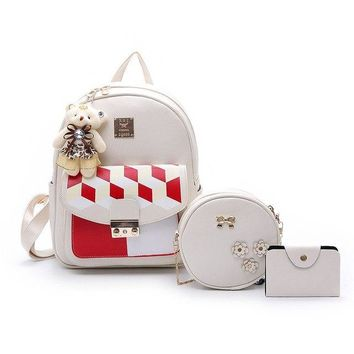 University College Backpack 2018 New Student  s Three-piece Cute Bear Hanging Chain Contrast Color Diamond Metal Patch Rucksacks For GirlsAT_63_4